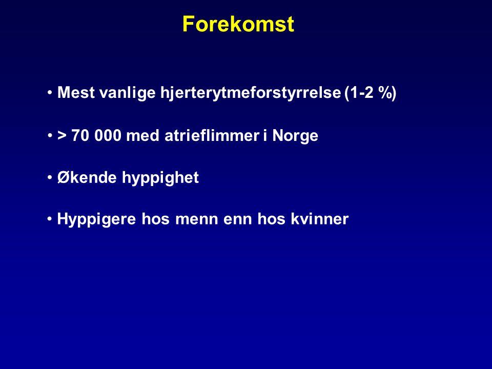 Forekomst Mest vanlige hjerterytmeforstyrrelse (1-2 %)