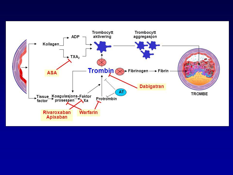 Trombocytt aktivering Koagulasjons- prosessen Trombocytt aggregasjon