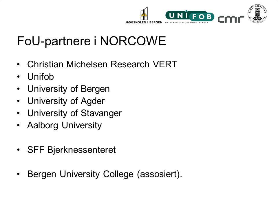 FoU-partnere i NORCOWE