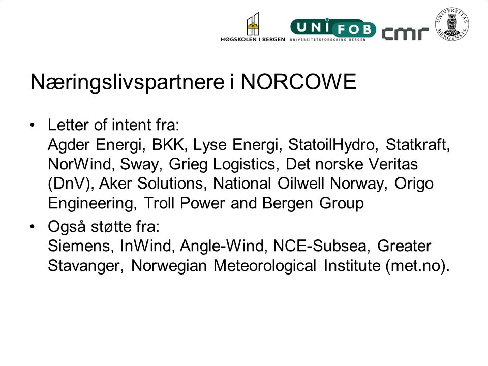 Næringslivspartnere i NORCOWE