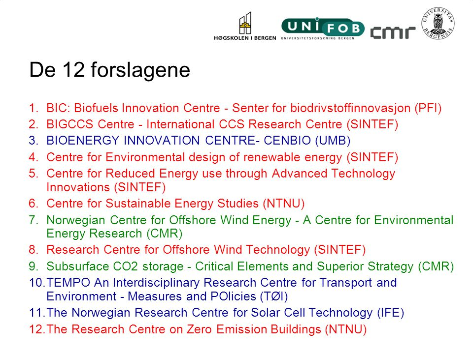 De 12 forslagene BIC: Biofuels Innovation Centre - Senter for biodrivstoffinnovasjon (PFI)