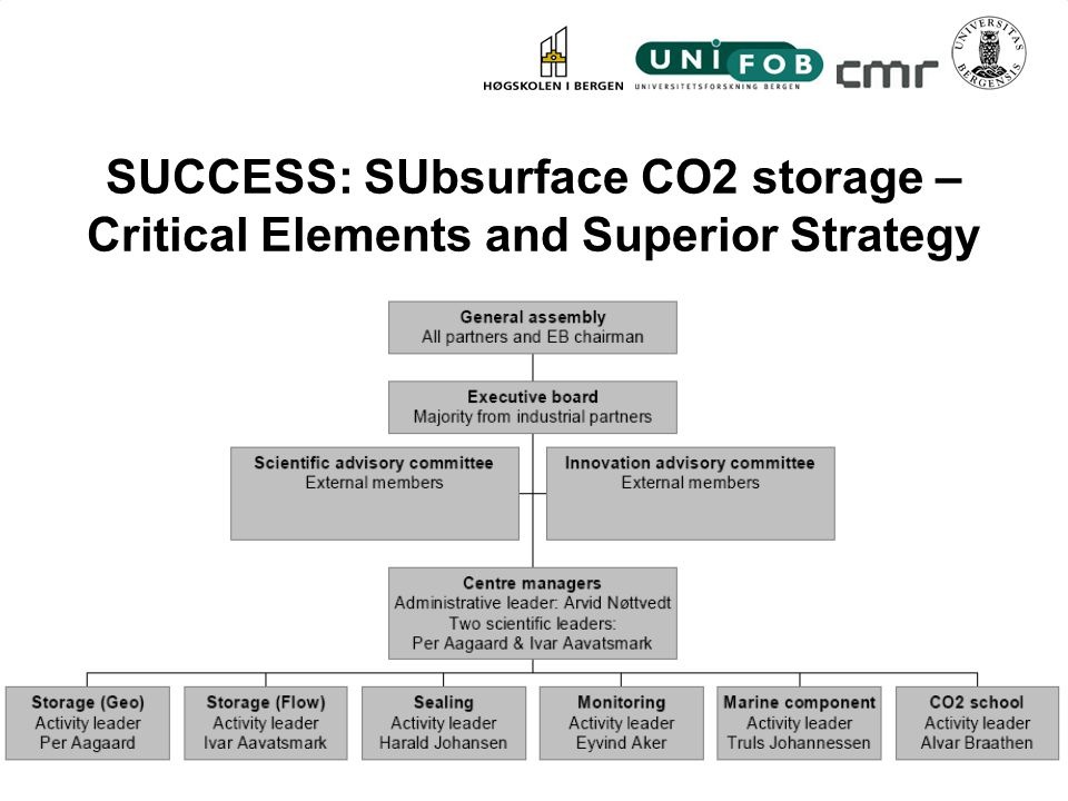 SUCCESS: SUbsurface CO2 storage – Critical Elements and Superior Strategy