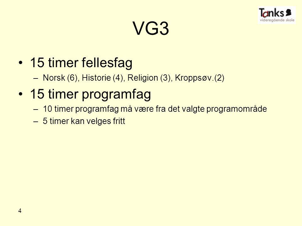 VG3 15 timer fellesfag 15 timer programfag