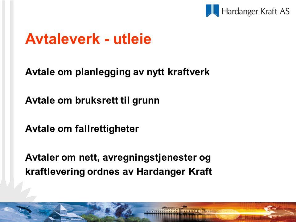 Avtaleverk - utleie Avtale om planlegging av nytt kraftverk