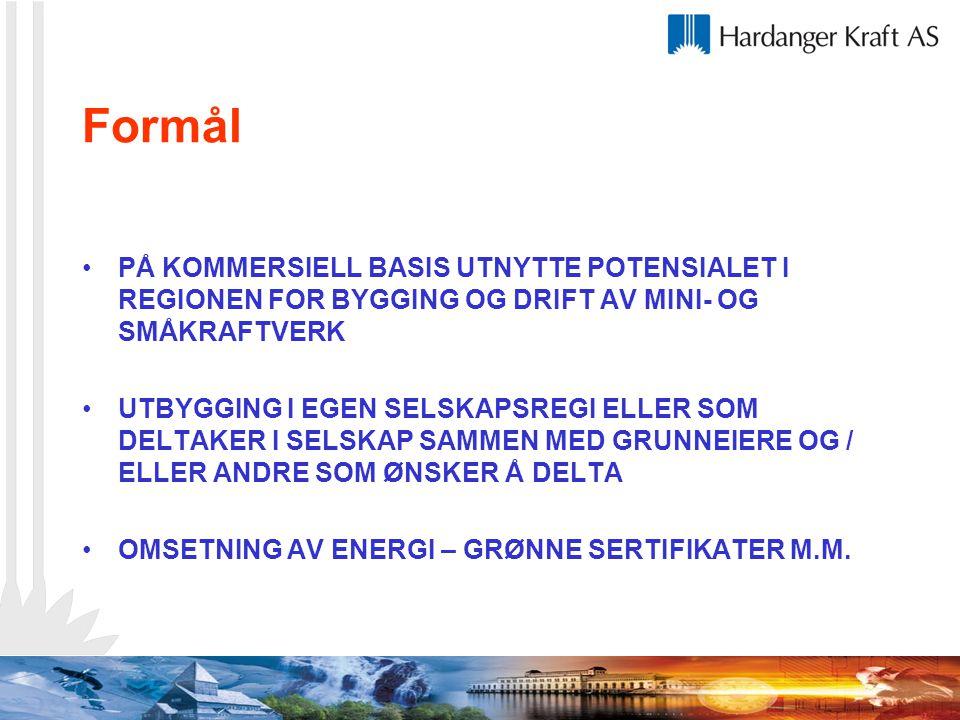 Formål PÅ KOMMERSIELL BASIS UTNYTTE POTENSIALET I REGIONEN FOR BYGGING OG DRIFT AV MINI- OG SMÅKRAFTVERK.