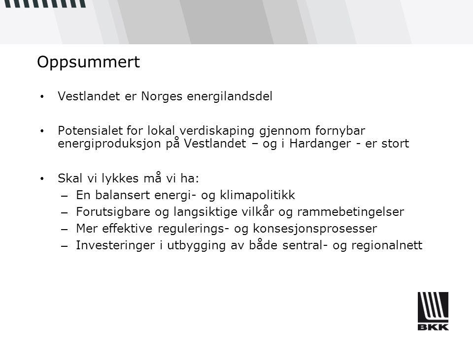 Oppsummert Vestlandet er Norges energilandsdel