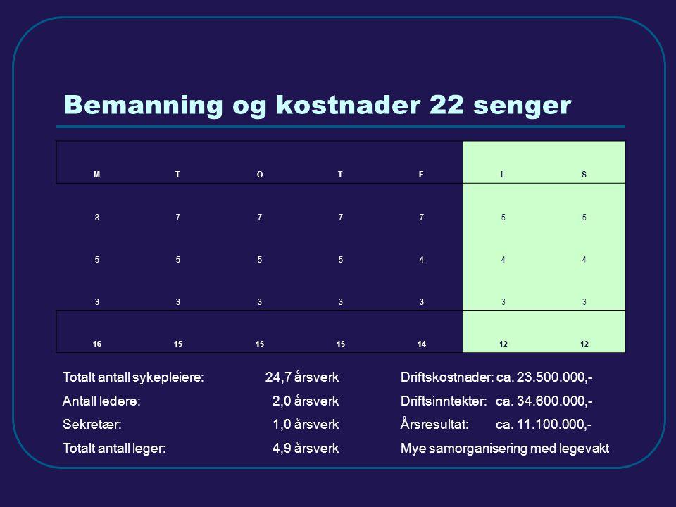 Bemanning og kostnader 22 senger