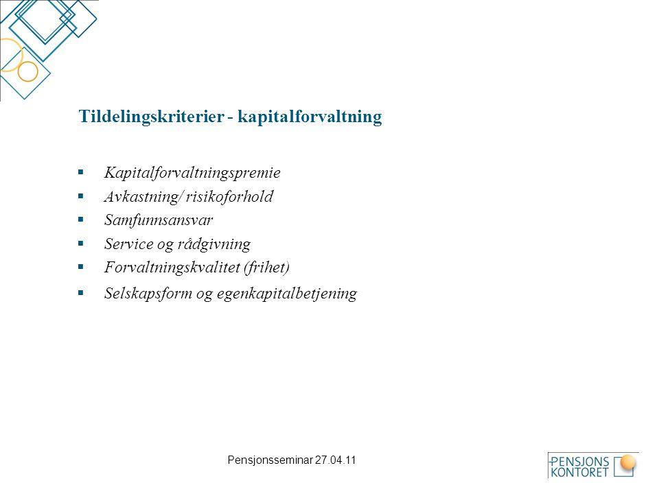 Tildelingskriterier - kapitalforvaltning