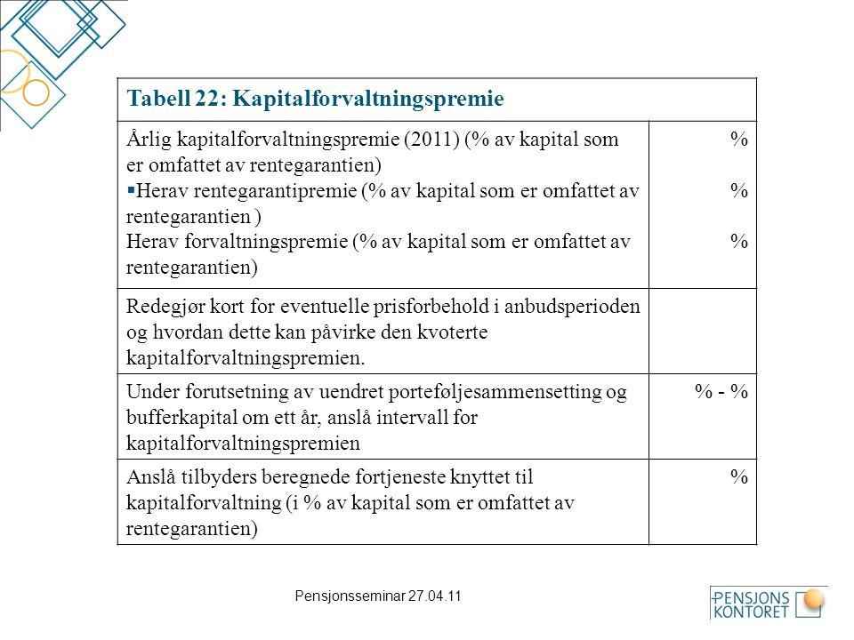 Tabell 22: Kapitalforvaltningspremie