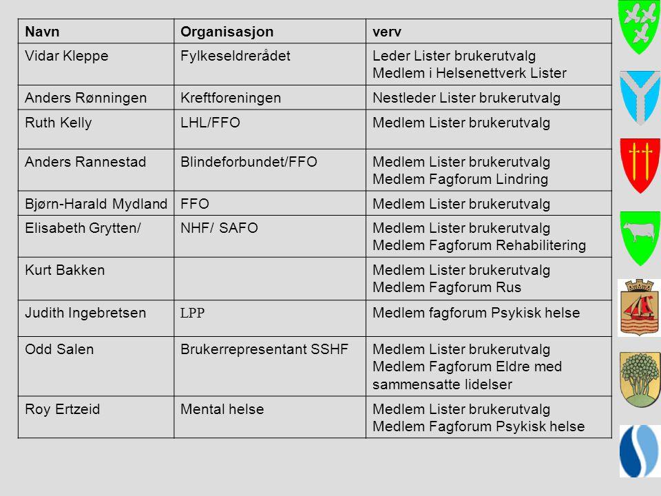 Leder Lister brukerutvalg Medlem i Helsenettverk Lister