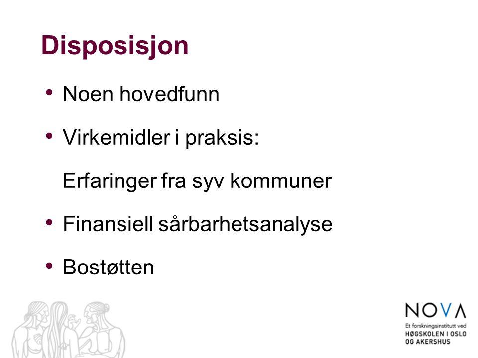 Disposisjon Noen hovedfunn Virkemidler i praksis: