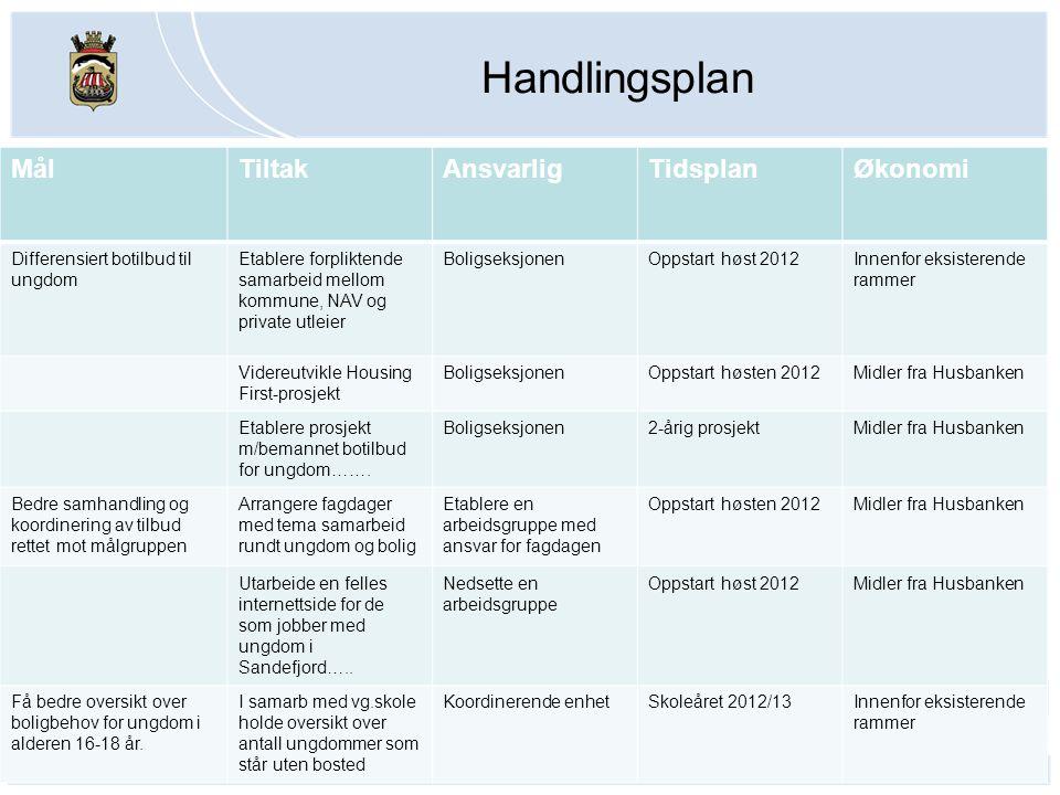 Handlingsplan Mål Tiltak Ansvarlig Tidsplan Økonomi