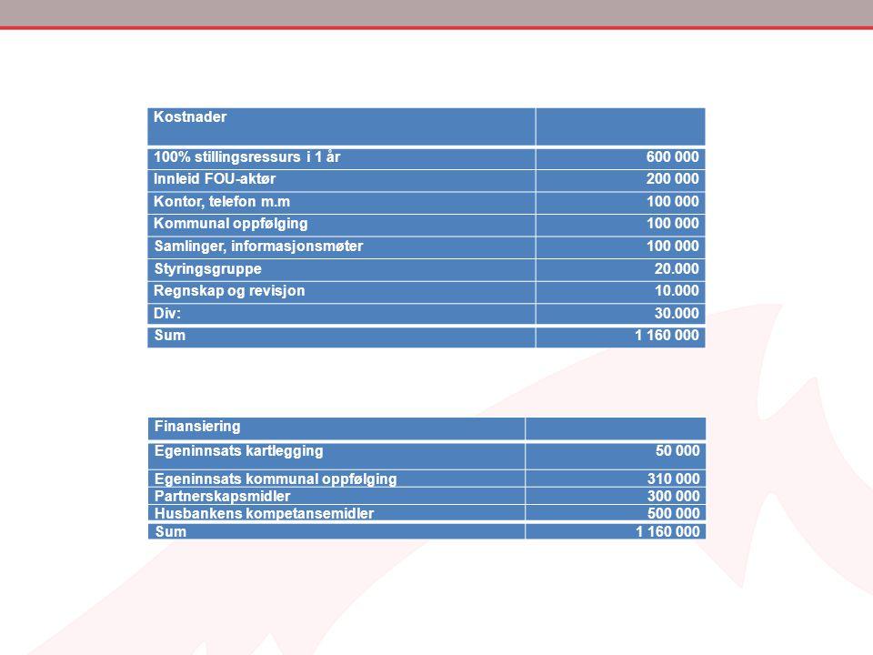Kostnader 100% stillingsressurs i 1 år. 600 000. Innleid FOU-aktør. 200 000. Kontor, telefon m.m.