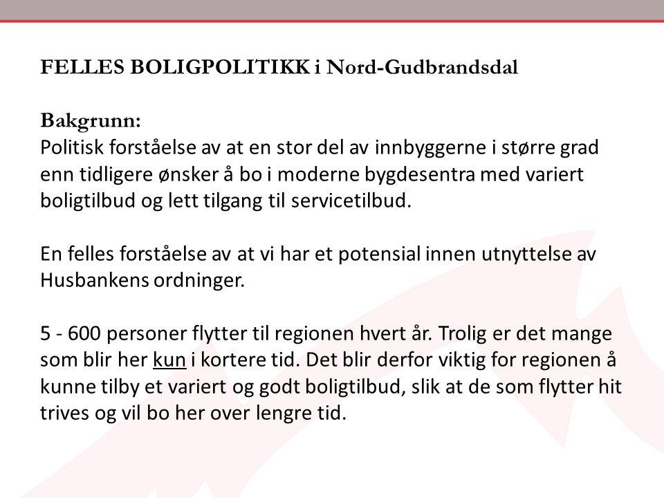 FELLES BOLIGPOLITIKK i Nord-Gudbrandsdal Bakgrunn:
