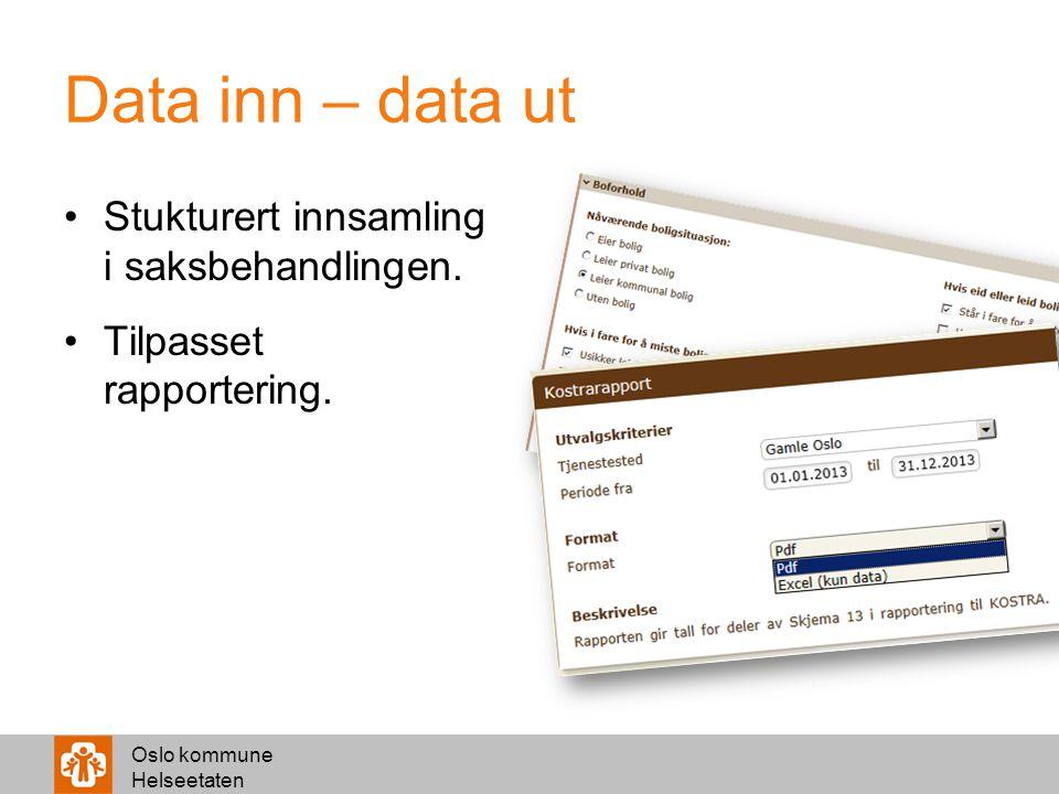 Data inn – data ut Stukturert innsamling i saksbehandlingen.