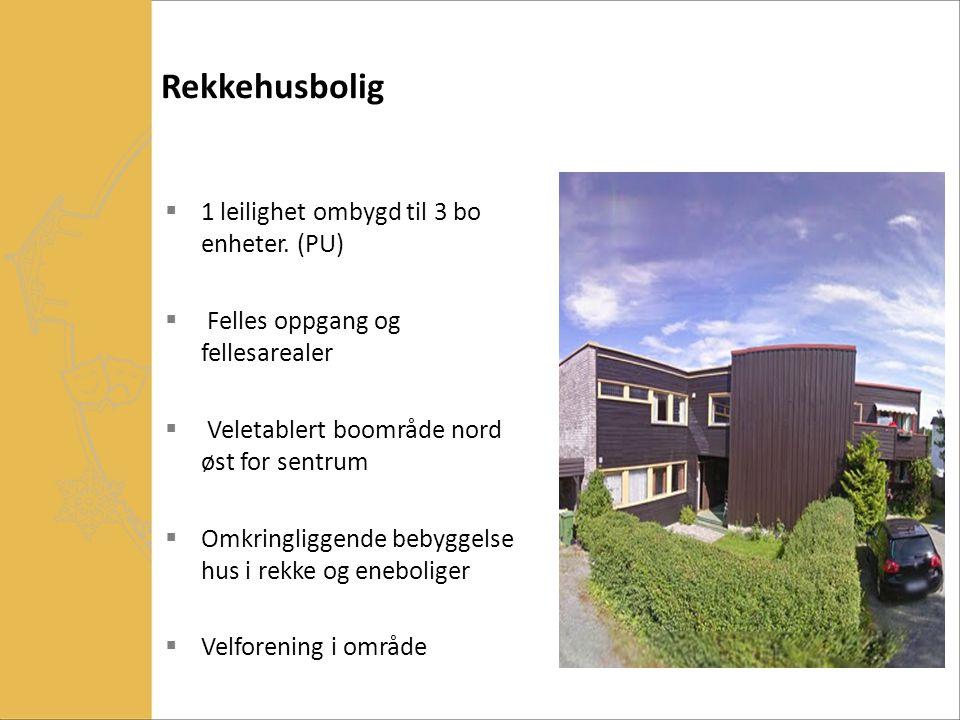 Rekkehusbolig 1 leilighet ombygd til 3 bo enheter. (PU)