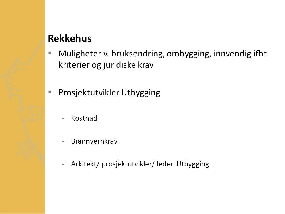 Rekkehus Muligheter v. bruksendring, ombygging, innvendig ifht kriterier og juridiske krav. Prosjektutvikler Utbygging.