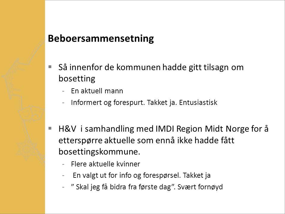 Beboersammensetning Så innenfor de kommunen hadde gitt tilsagn om bosetting. En aktuell mann. Informert og forespurt. Takket ja. Entusiastisk.
