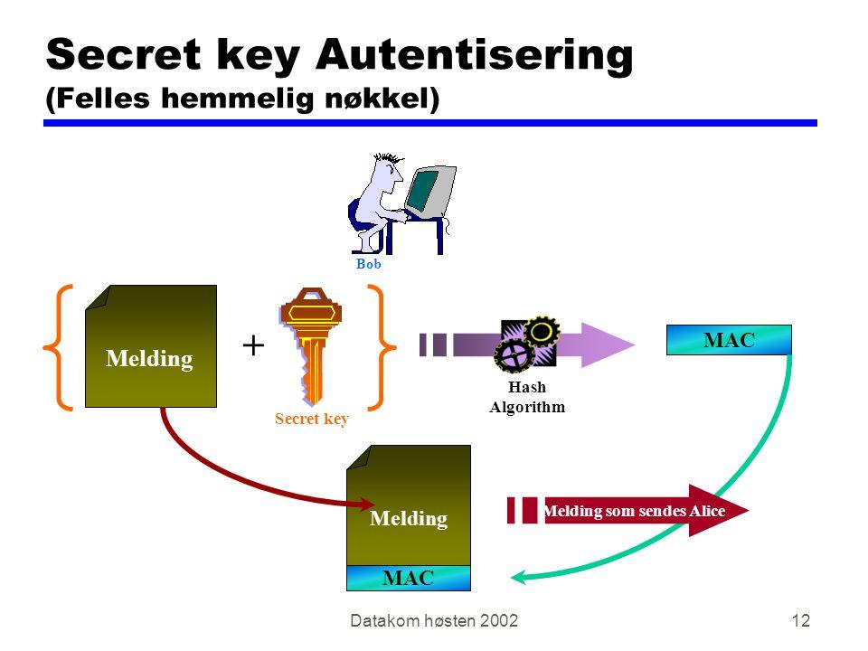 Secret key Autentisering (Felles hemmelig nøkkel)