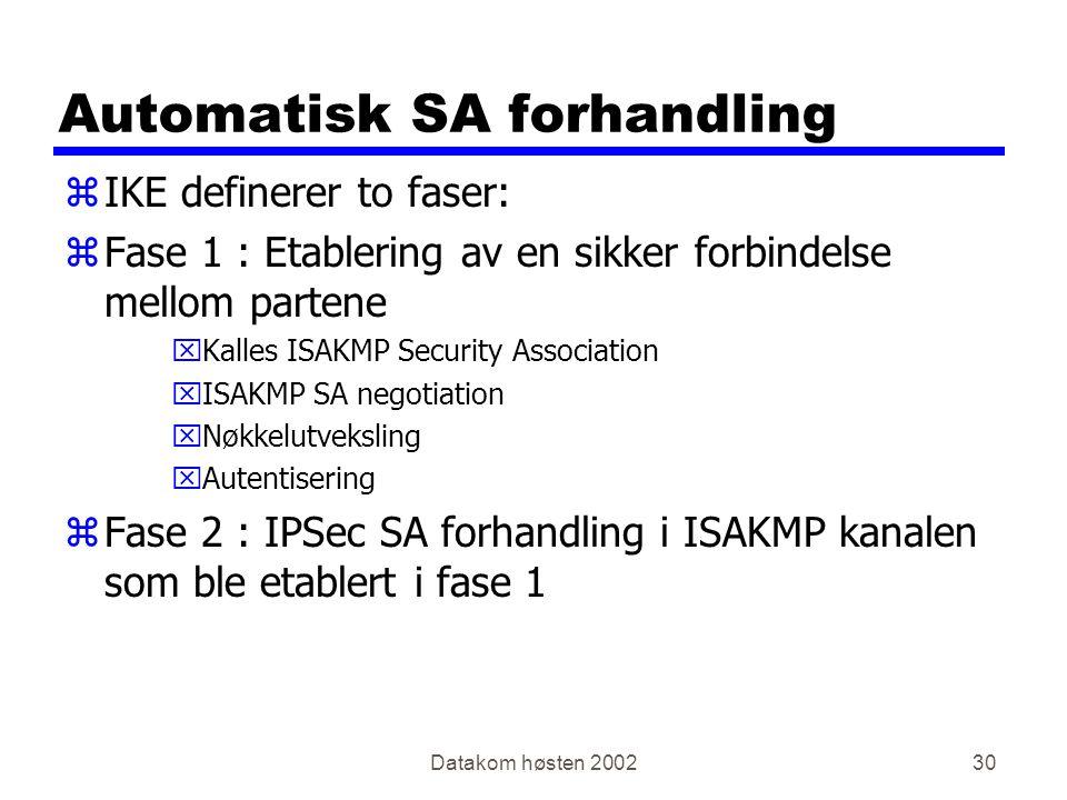 Automatisk SA forhandling