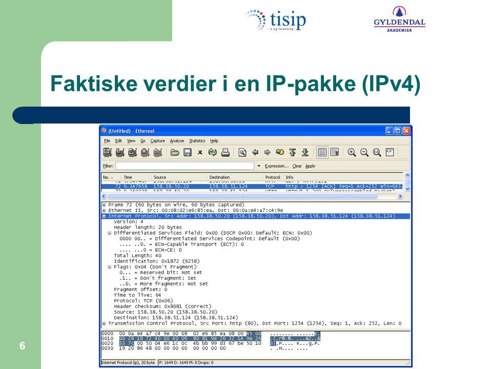 Faktiske verdier i en IP-pakke (IPv4)