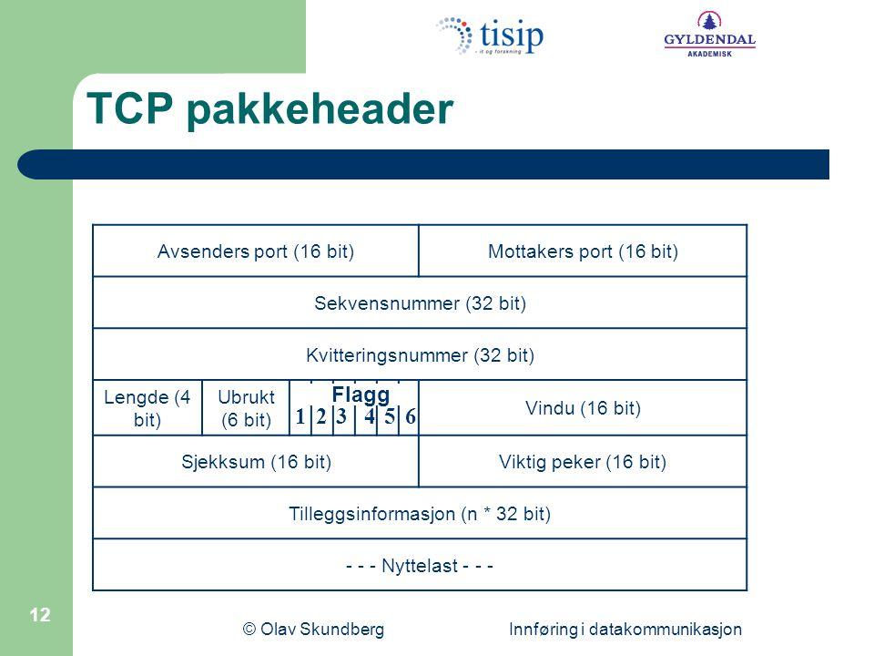 TCP pakkeheader 1 2 3 4 5 6 Flagg Avsenders port (16 bit)