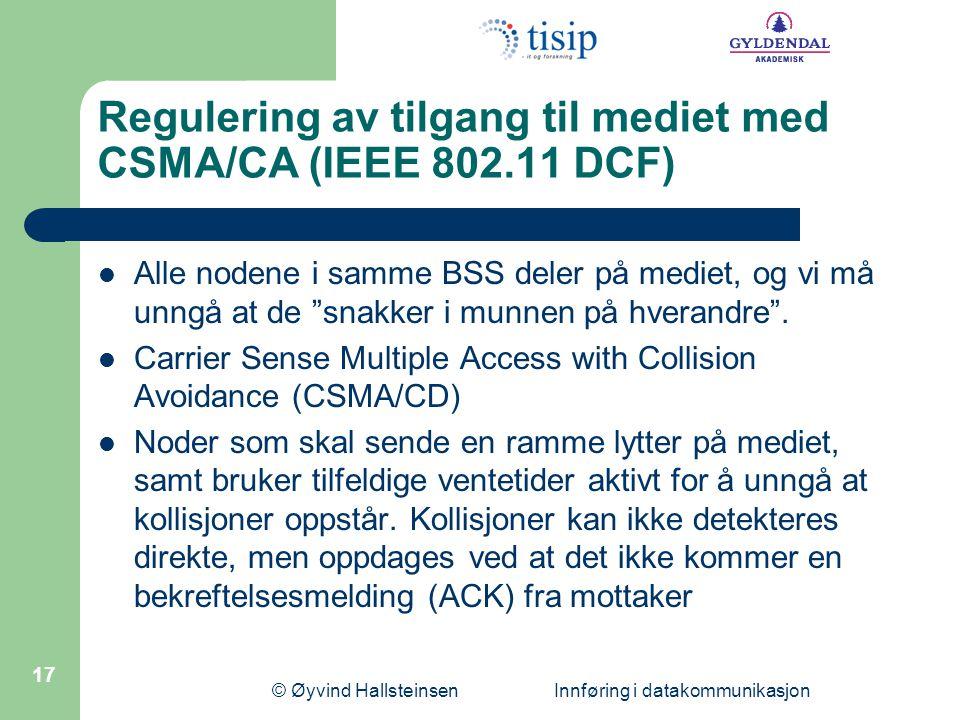 Regulering av tilgang til mediet med CSMA/CA (IEEE 802.11 DCF)