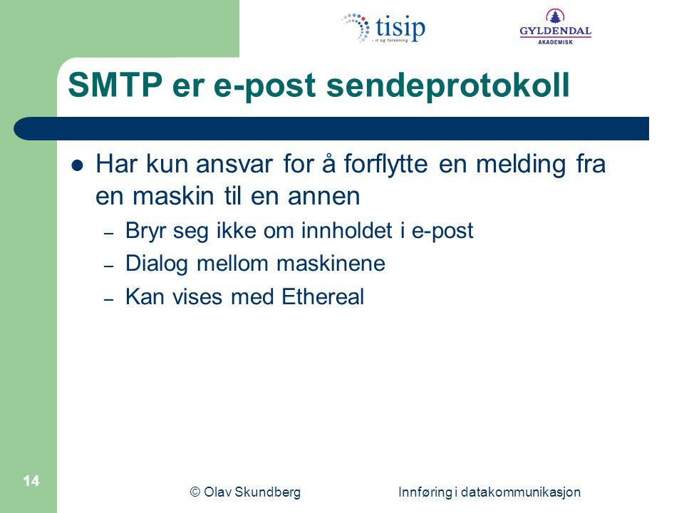 SMTP er e-post sendeprotokoll