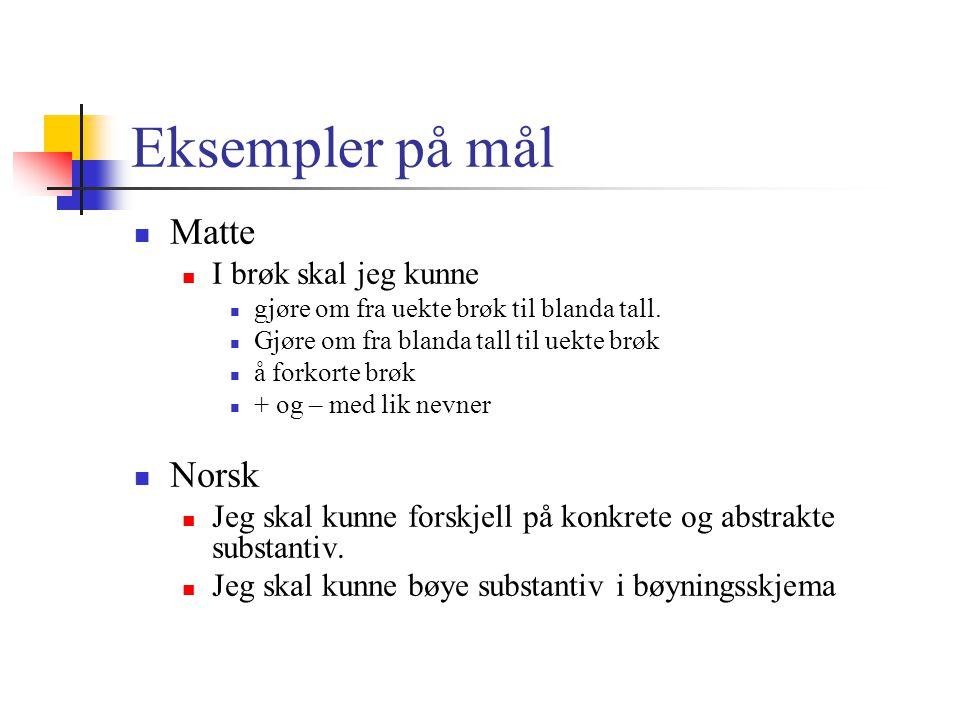 Eksempler på mål Matte Norsk I brøk skal jeg kunne