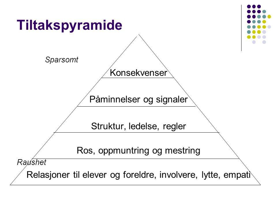 Tiltakspyramide Sparsomt Konsekvenser Påminnelser og signaler