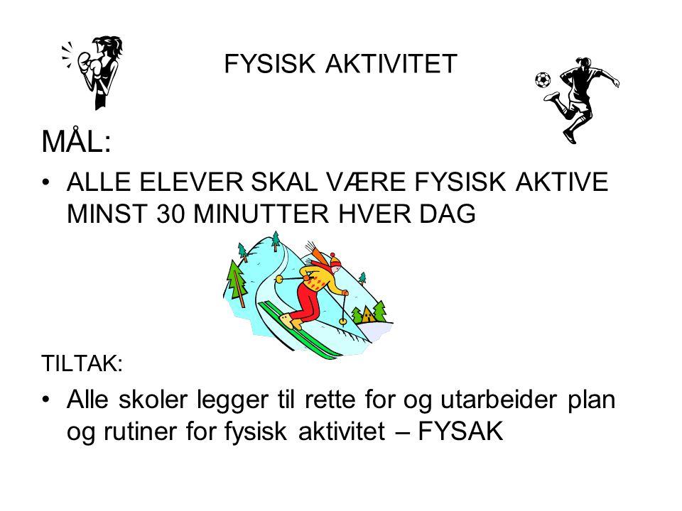 FYSISK AKTIVITET MÅL: ALLE ELEVER SKAL VÆRE FYSISK AKTIVE MINST 30 MINUTTER HVER DAG. TILTAK: