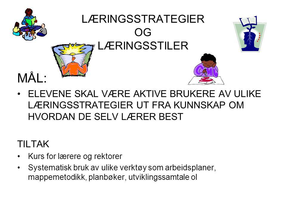 LÆRINGSSTRATEGIER OG LÆRINGSSTILER