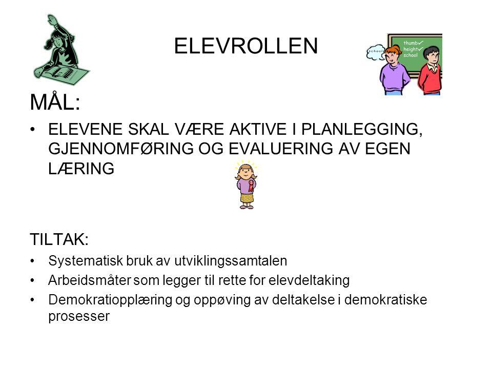 ELEVROLLEN MÅL: ELEVENE SKAL VÆRE AKTIVE I PLANLEGGING, GJENNOMFØRING OG EVALUERING AV EGEN LÆRING.