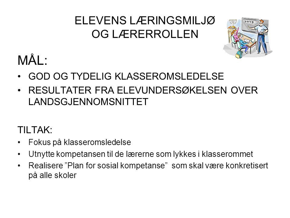 ELEVENS LÆRINGSMILJØ OG LÆRERROLLEN