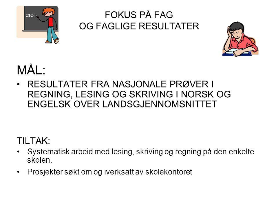 FOKUS PÅ FAG OG FAGLIGE RESULTATER