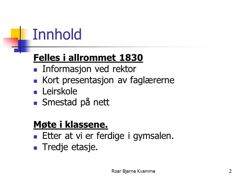Innhold Felles i allrommet 1830 Informasjon ved rektor