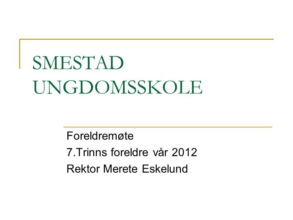Foreldremøte 7.Trinns foreldre vår 2012 Rektor Merete Eskelund