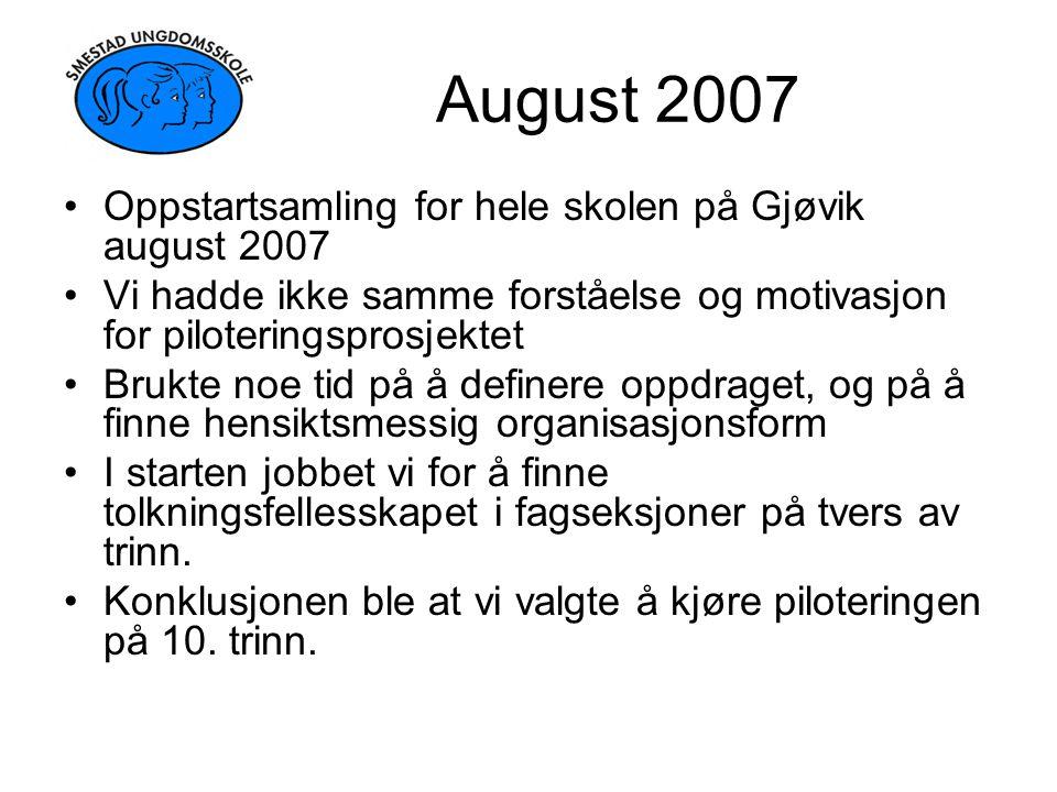 August 2007 Oppstartsamling for hele skolen på Gjøvik august 2007
