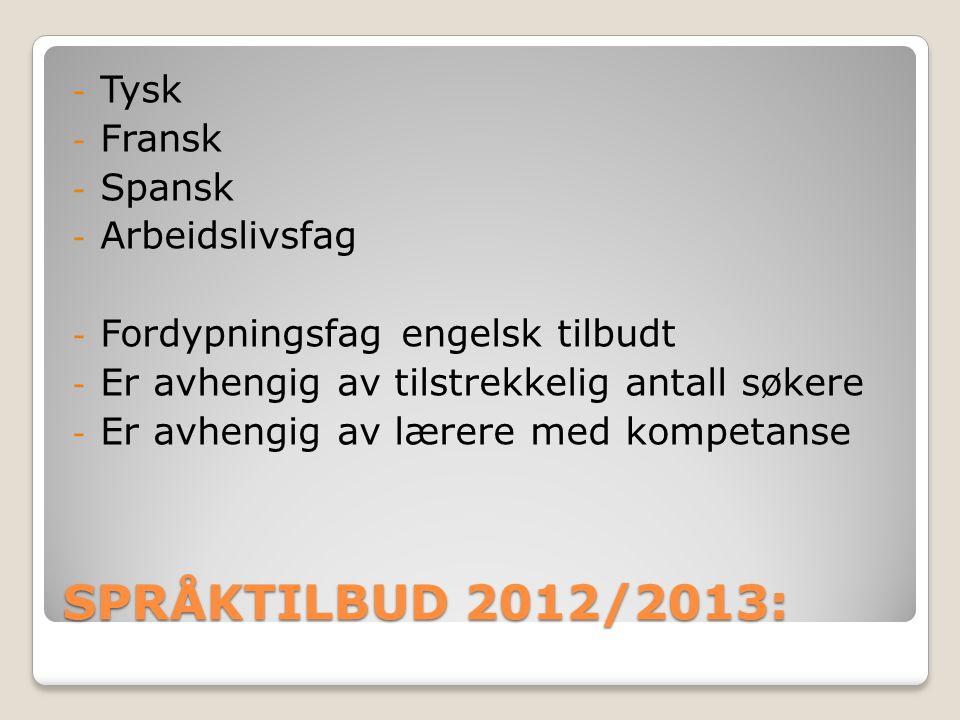 SPRÅKTILBUD 2012/2013: Tysk Fransk Spansk Arbeidslivsfag