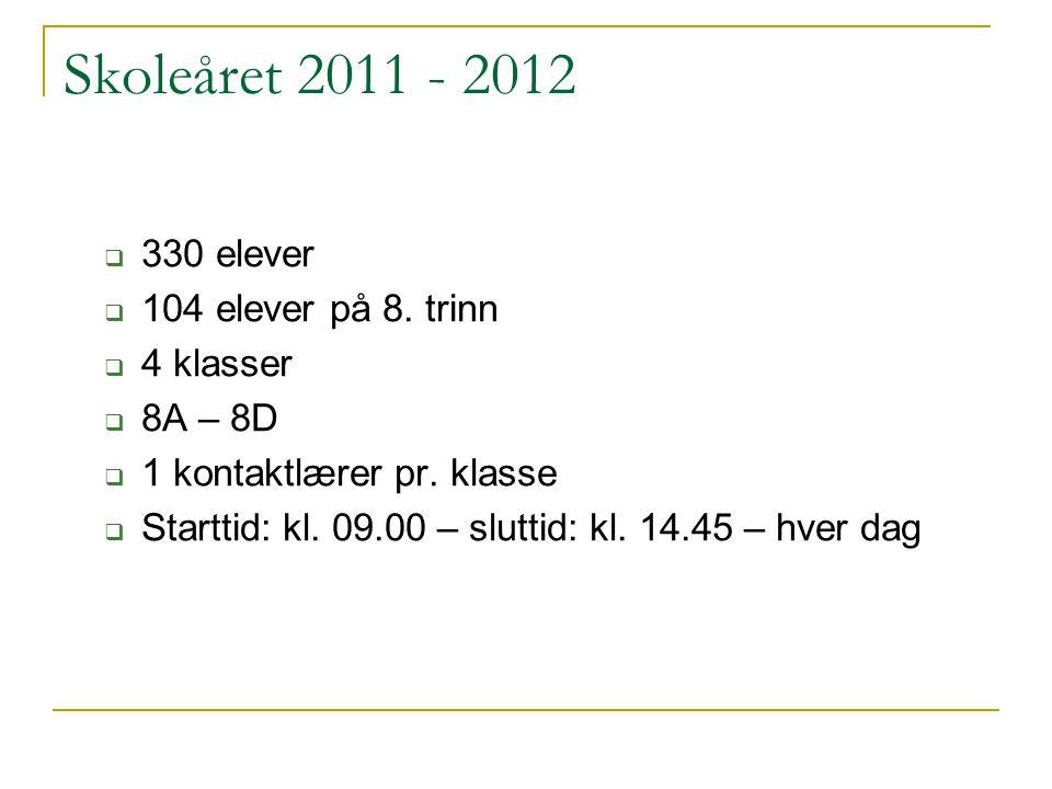 Skoleåret 2011 - 2012 330 elever 104 elever på 8. trinn 4 klasser