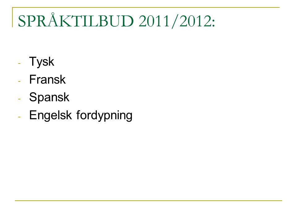 SPRÅKTILBUD 2011/2012: Tysk Fransk Spansk Engelsk fordypning