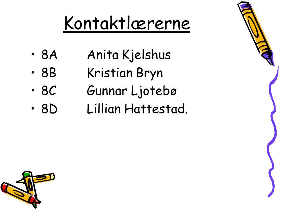 Kontaktlærerne 8A Anita Kjelshus 8B Kristian Bryn 8C Gunnar Ljotebø