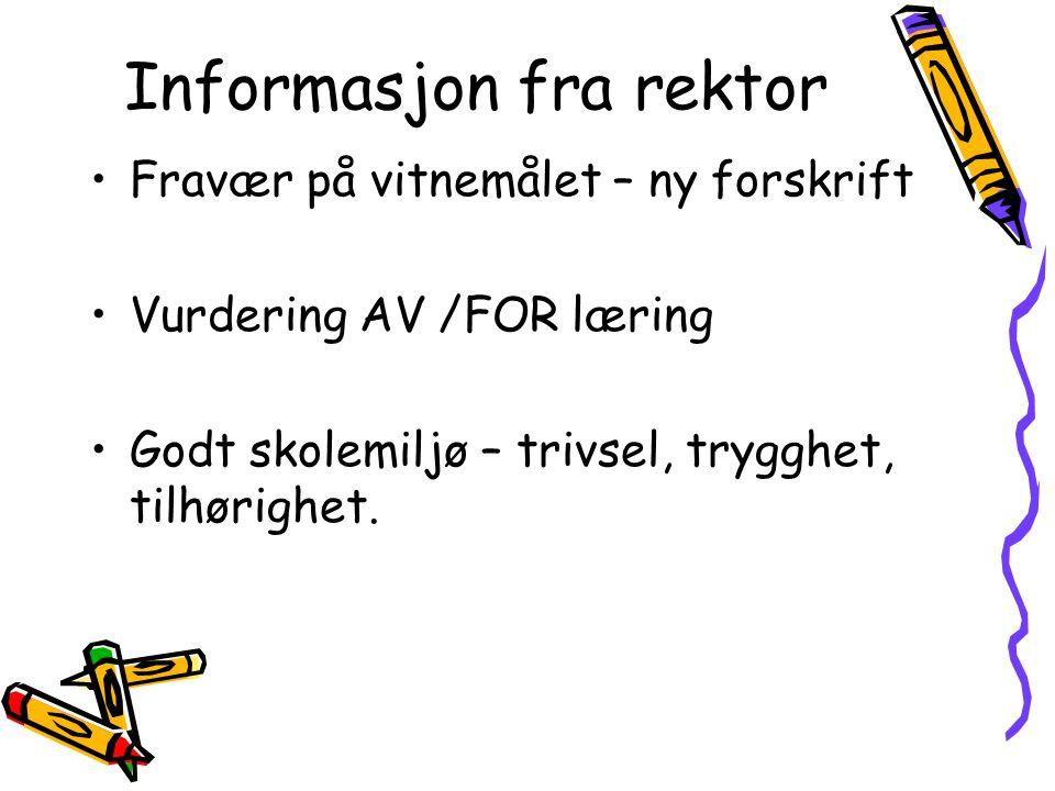 Informasjon fra rektor