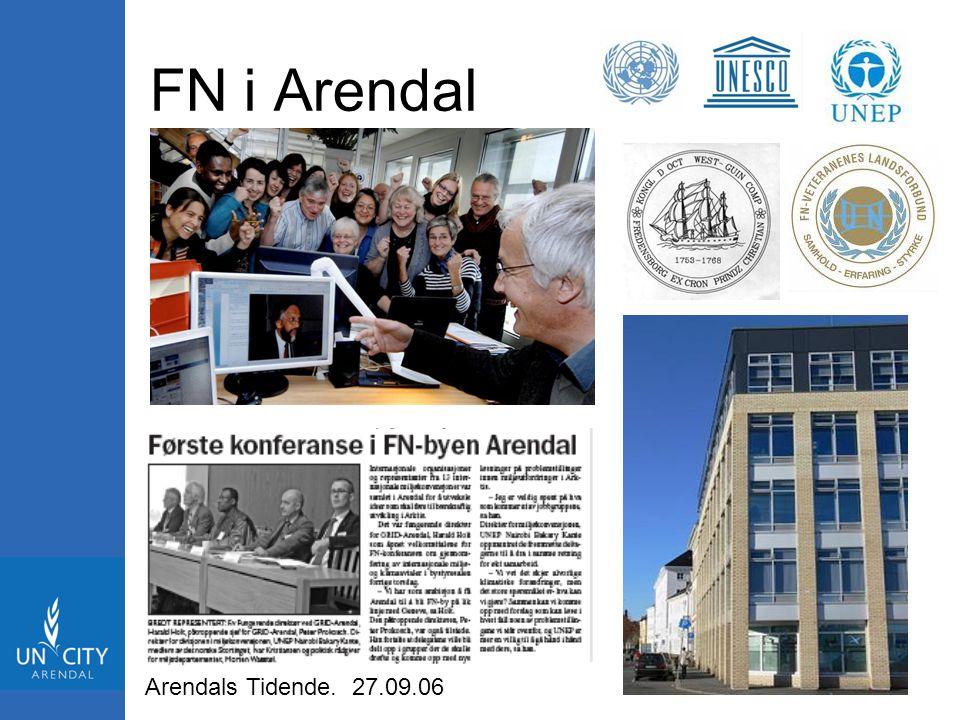 FN i Arendal Arendals Tidende. 27.09.06