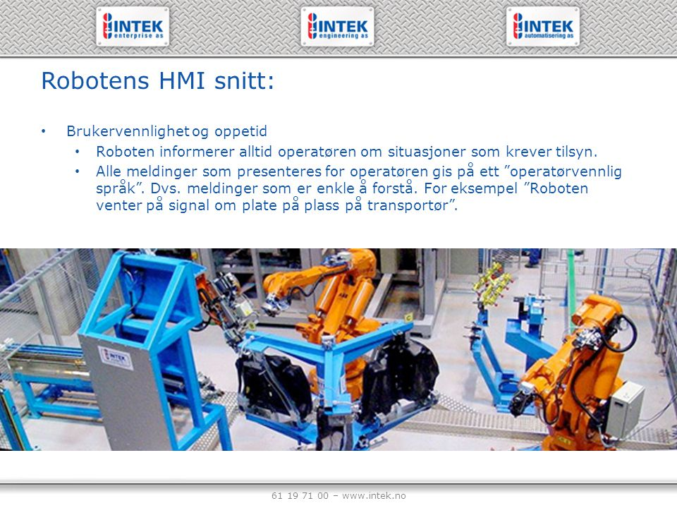 Robotens HMI snitt: Brukervennlighet og oppetid
