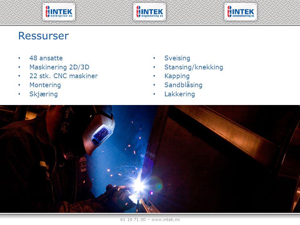Ressurser 48 ansatte Maskinering 2D/3D 22 stk. CNC maskiner Montering