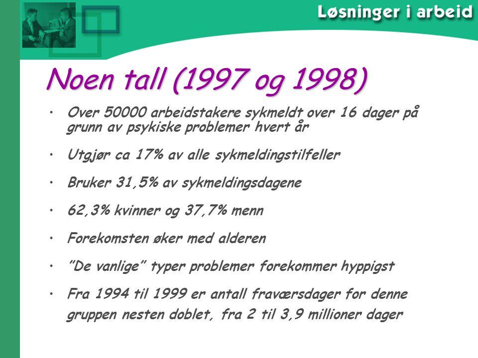 04.04.2017 Noen tall (1997 og 1998) Over 50000 arbeidstakere sykmeldt over 16 dager på grunn av psykiske problemer hvert år.