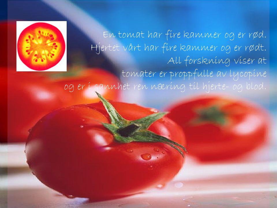 En tomat har fire kammer og er rød.