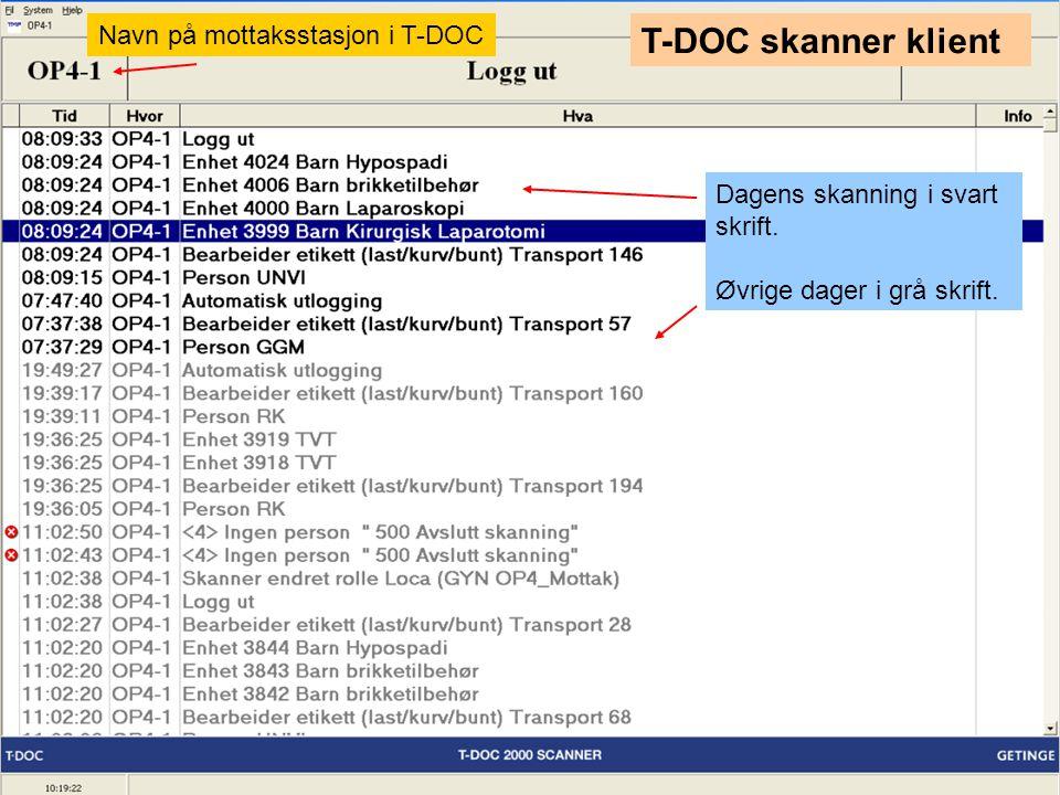 T-DOC skanner klient Navn på mottaksstasjon i T-DOC