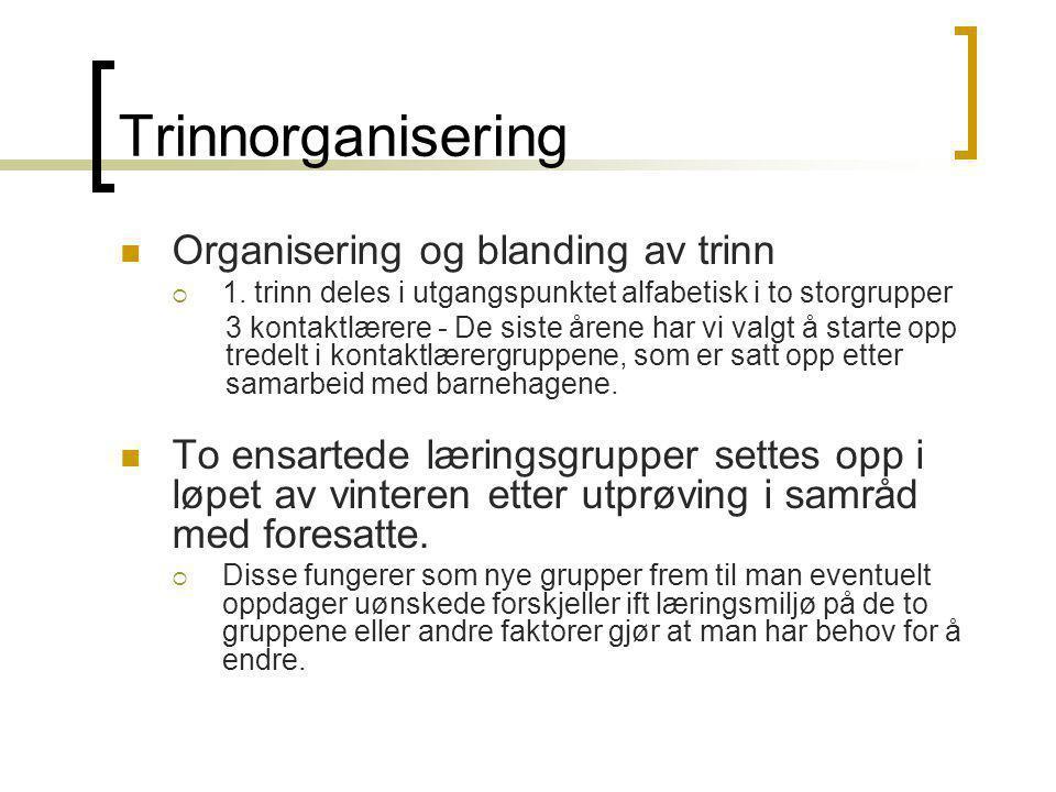 Trinnorganisering Organisering og blanding av trinn